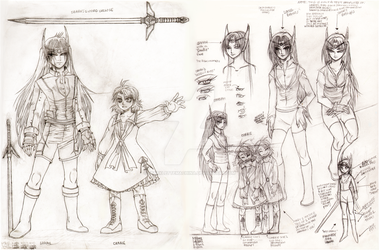 Sarah and Carrie Original Character Designs by SparkletteMachina