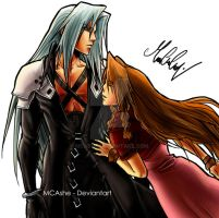 Sephiroth Aerith original draw by MCAshe