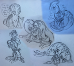 Lugia, Maxwell and Basil Sketch dump #1 by DragonM97HD