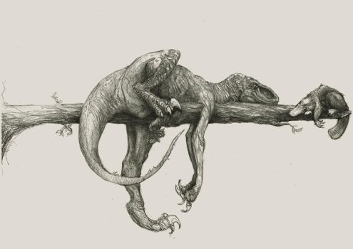 raptor and platypus on a tree branch by Zombiraptor