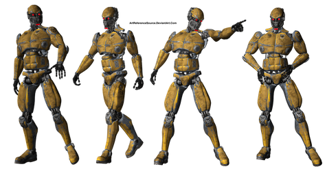 Free PNG:  Android / Robot in 4 poses by ArtReferenceSource