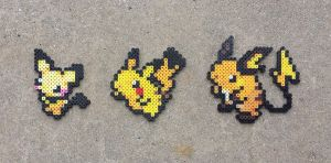 Pikachu Family - Pokemon Perler Bead Sprites by MaddogsCreations