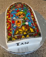 Legend of Zelda stained glass cake by cake-engineering