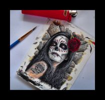 This morning's painting: Day Of The Dead girl card by D-E-V-I-A-N-T-A-R-T