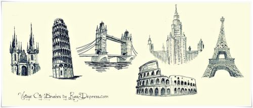 Vintage City High Res PS Brushes by iCatchUrDream