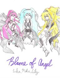 Luka, Miku, and Lily (Blame of Angel) by Miku by Lily-the-Vocaloid