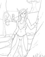 Skimpy Blood Elf lineart by raimy329
