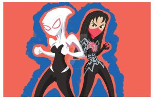 Spider-Gwen and Silk by august-macias