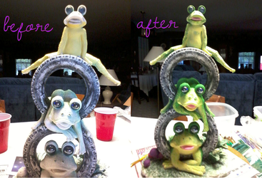 Before and After: Garden Frogs by seremela05