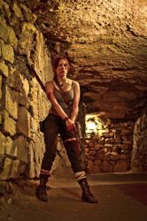 Lara Croft REBORN cosplay - with gun by TanyaCroft