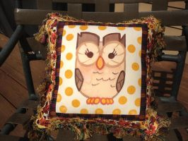 Owloysius Throw Pillow Front by reluctantbrony
