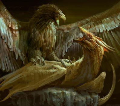 Eagle vs Dragon. WIP! by Manzanedo