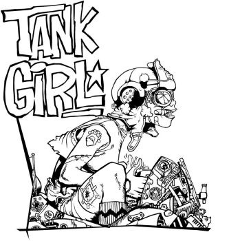 Tank Girl Lineart by NoArtistHere