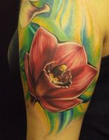 Red Orchid tattoo by hatefulss
