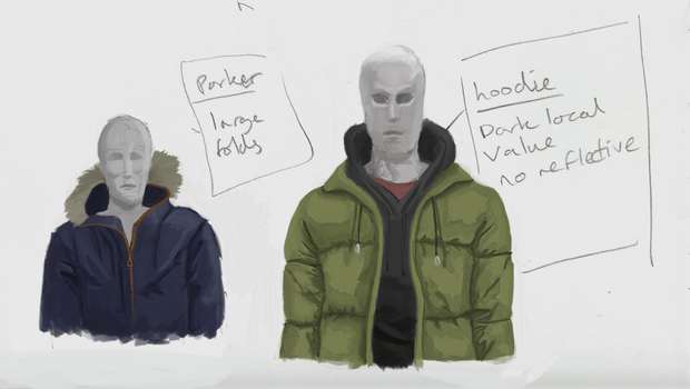 Clothes Study 2 : Puffer Jacket, Hoodie and Parker by pixg