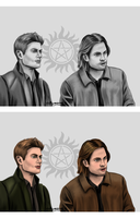 Sam and Dean Winchester by chillyravenart