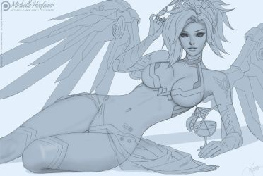 Mercy Swimsuit - Line Art by MichelleHoefener
