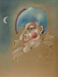 PUNCHINELLO CLOWN JESTER COLORED PENCIL DRAWING by popartdiva