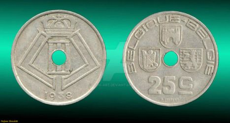 Coin 5 Cents 1938 - Perforated - (Belgium) by Book-Art