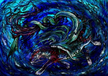 Sea Tiger and Mermaid by iscalox
