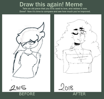 Draw this again meme!! 3 year difference by lonelykittysoul