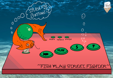 Fish Play Street Fighter (colored-in version) by SnD-Frostey