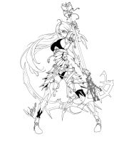 Warrior lineart by franja2190