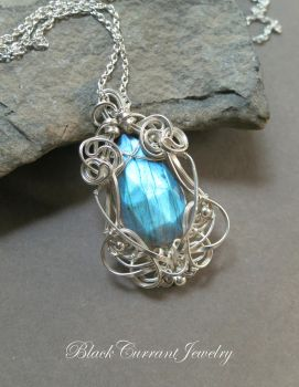 Faceted Teardrop Labradorite with bright silver by blackcurrantjewelry
