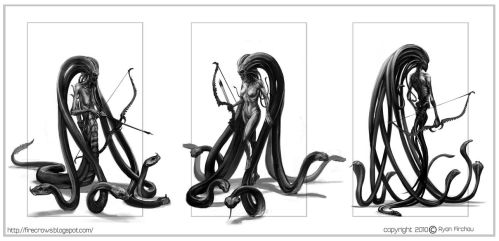 Medusa Body design Sketches by firecrow78
