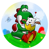 Yoshi and Tama (Remake) by blueyoshiegg