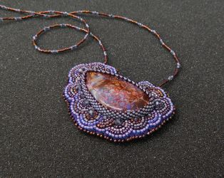 Enchanted Forest bead embroidered pendant necklace by YANKA-arts-n-crafts
