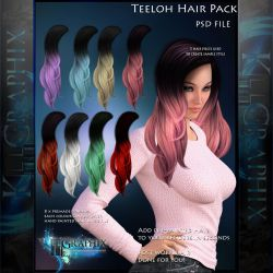 Teeloh Painted Instant Hair PSD add on hair stock by MakeMeMagical
