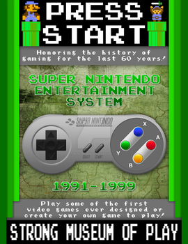 Press Play - Video Game Museum Poster (SNES) by S3NTRYdesigns