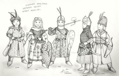 HWS Medieval Balkan Women Warriors - Chibi style by Gambargin