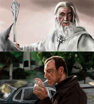 Gandalf and Kevin Spacey by PyroStyx