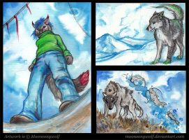 ACEO Cards: Blue Mood by MoonsongWolf
