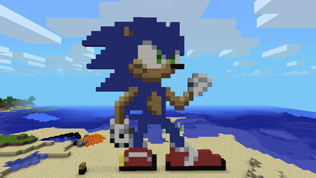 Sonic in Minecraft again (without Ames) by Eizzoux
