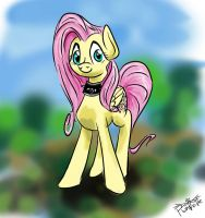 fluttershy with a spiked collar by Pwnyville