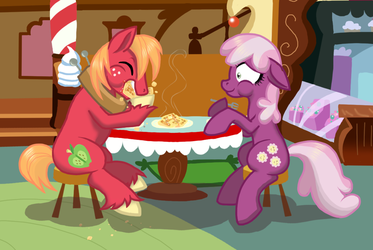Big Mac and Cheerilee Eatin' Waffles by NaomiKnight17