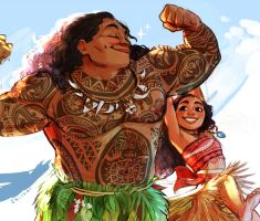 Moana and Maui by Sbi96