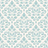 Scroll Damask Pattern Lt Teal on Cream by NatPaskell