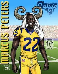 Marcus Peters of Los Angeles Rams por rickamacho by rickamacho