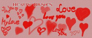 Hearts and Love Brushes by freaky-x