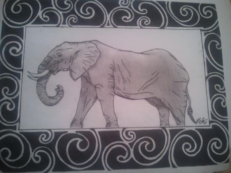 Elephant with swirl borders! by BrentTew