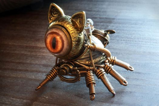 8 legged steampunk cat robot by CatherinetteRings