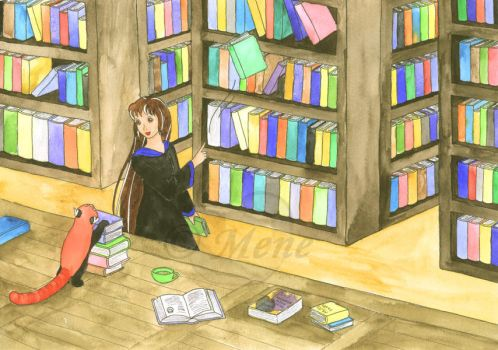 HOL - In the Hogwarts Library by mene