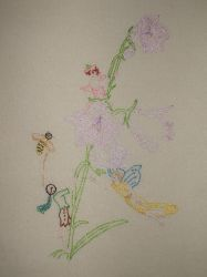 fairies and flowers embroidery by kjbrasda