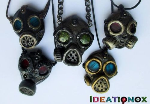 Polymer Gas Mask Necklaces by Ideationox