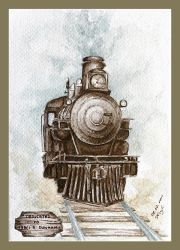Steam locomotive - watercolors by czajka