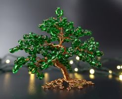 Miniature green bead and copper wire tree of life by Twystedroots